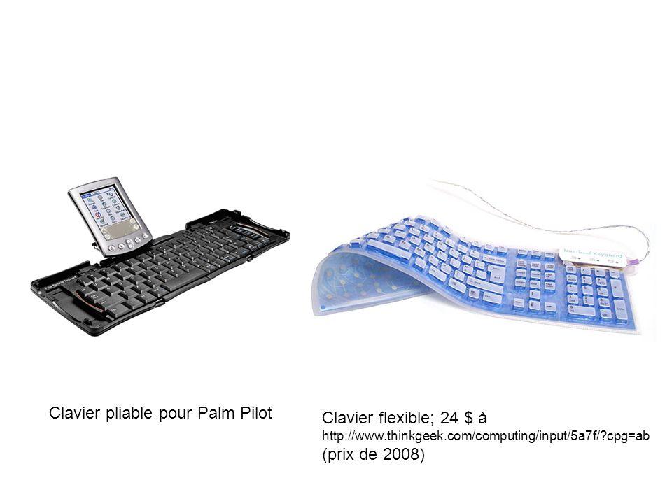 Clavier pliable pour Palm Pilot Clavier flexible; 24 $ à http://www.thinkgeek.com/computing/input/5a7f/ cpg=ab (prix de 2008)
