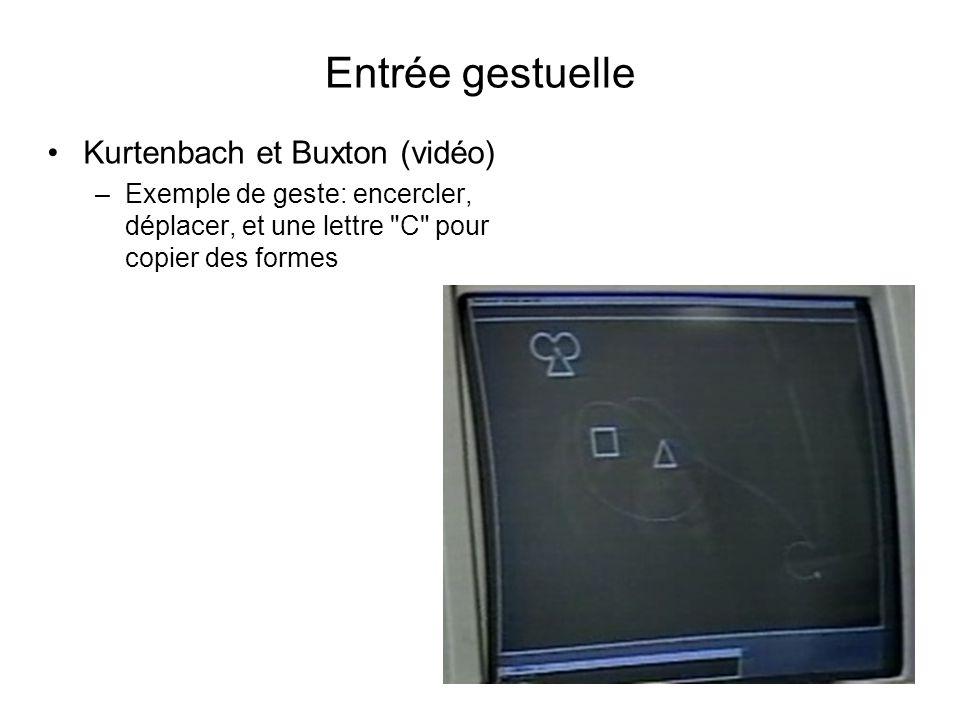 Entrée gestuelle •Kurtenbach et Buxton (vidéo) –Exemple de geste: encercler, déplacer, et une lettre C pour copier des formes