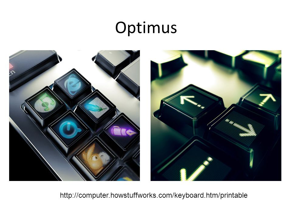 Optimus Maximus Chacune des 113 touches contient un écran de 48x48 pixels.