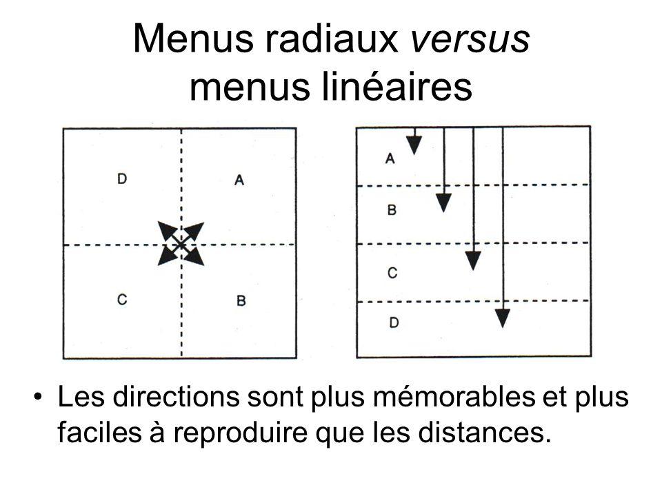 Menus radiaux versus menus linéaires •Les directions sont plus mémorables et plus faciles à reproduire que les distances.