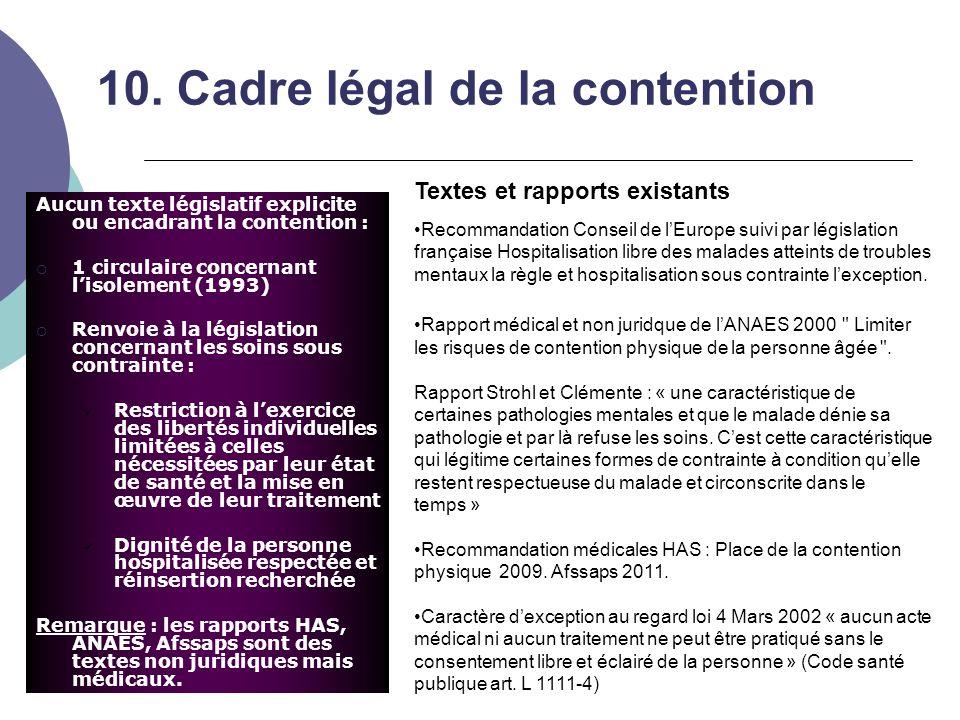 10. Cadre légal de la contention Aucun texte législatif explicite ou encadrant la contention :  1 circulaire concernant l'isolement (1993)  Renvoie