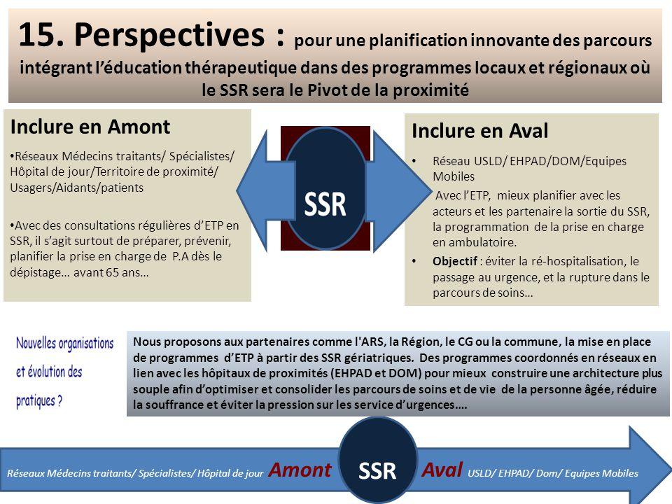 15. Perspectives : pour une planification innovante des parcours intégrant l'éducation thérapeutique dans des programmes locaux et régionaux où le SSR