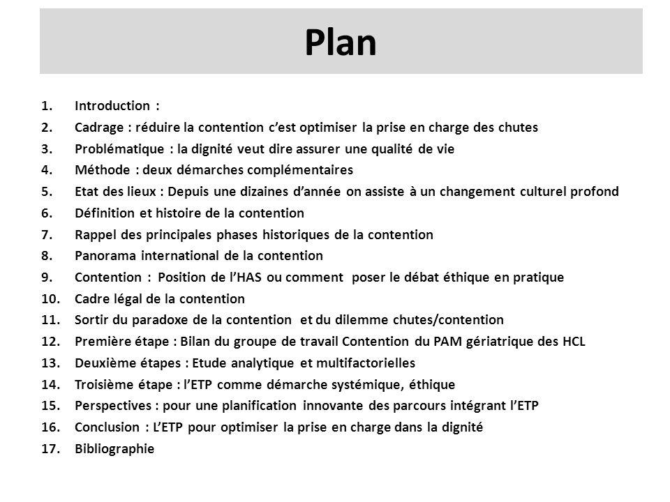 Plan 1.Introduction : 2.Cadrage : réduire la contention c'est optimiser la prise en charge des chutes 3.Problématique : la dignité veut dire assurer u