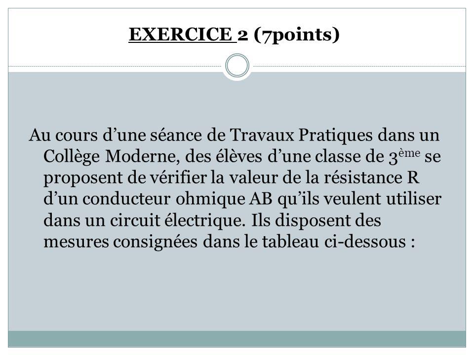 EXERCICE 2 (7points) Au cours d'une séance de Travaux Pratiques dans un Collège Moderne, des élèves d'une classe de 3 ème se proposent de vérifier la valeur de la résistance R d'un conducteur ohmique AB qu'ils veulent utiliser dans un circuit électrique.
