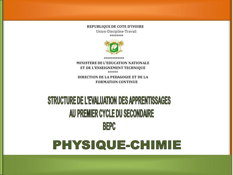 REPUBLIQUE DE COTE D ' IVOIRE Union-Discipline-Travail ******** ************ MINISTERE DE L ' EDUCATION NATIONALE ET DE L ' ENSEIGNEMENT TECHNIQUE ****** DIRECTION DE LA PEDAGOGIE ET DE LA FORMATION CONTINUE