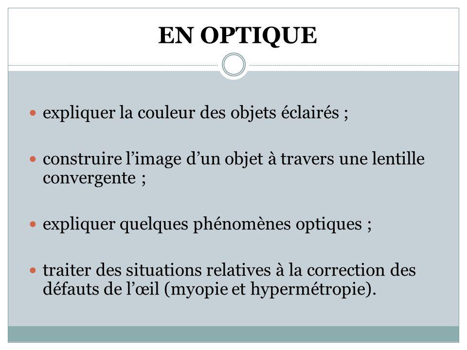 EN OPTIQUE  expliquer la couleur des objets éclairés ;  construire l'image d'un objet à travers une lentille convergente ;  expliquer quelques phénomènes optiques ;  traiter des situations relatives à la correction des défauts de l'œil (myopie et hypermétropie).