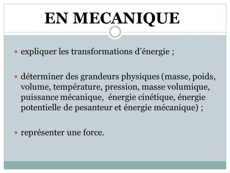 EN MECANIQUE  expliquer les transformations d'énergie ;  déterminer des grandeurs physiques (masse, poids, volume, température, pression, masse volumique, puissance mécanique, énergie cinétique, énergie potentielle de pesanteur et énergie mécanique) ;  représenter une force.