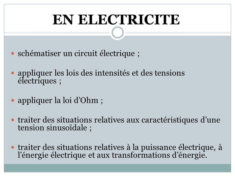 EN ELECTRICITE  schématiser un circuit électrique ;  appliquer les lois des intensités et des tensions électriques ;  appliquer la loi d'Ohm ;  traiter des situations relatives aux caractéristiques d'une tension sinusoïdale ;  traiter des situations relatives à la puissance électrique, à l'énergie électrique et aux transformations d'énergie.