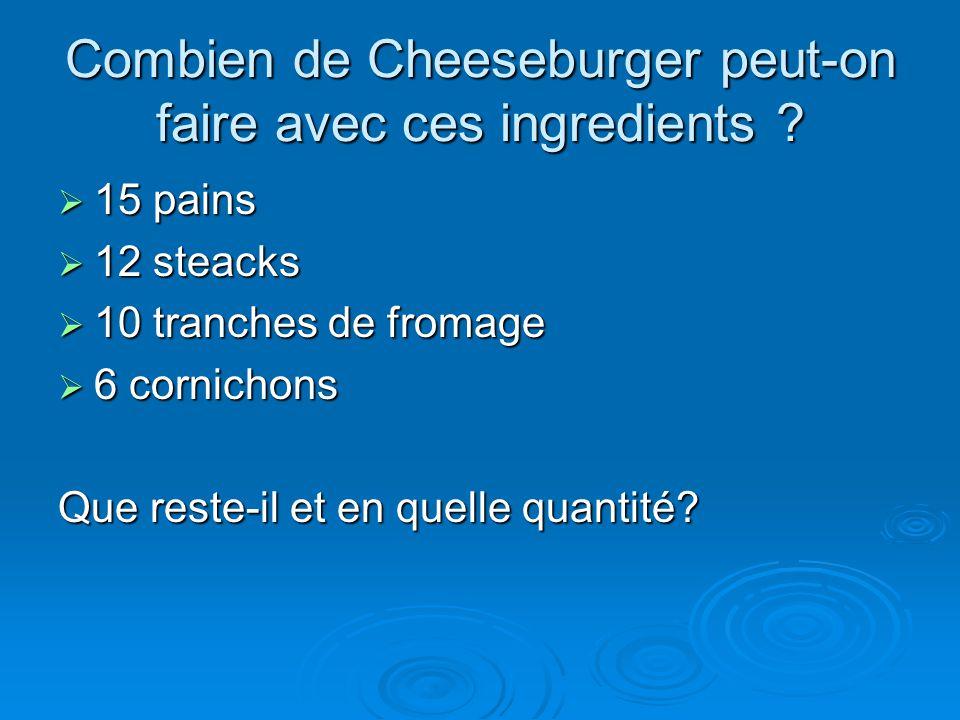 Combien de Cheeseburger peut-on faire avec ces ingredients ?  15 pains  12 steacks  10 tranches de fromage  6 cornichons Que reste-il et en quelle
