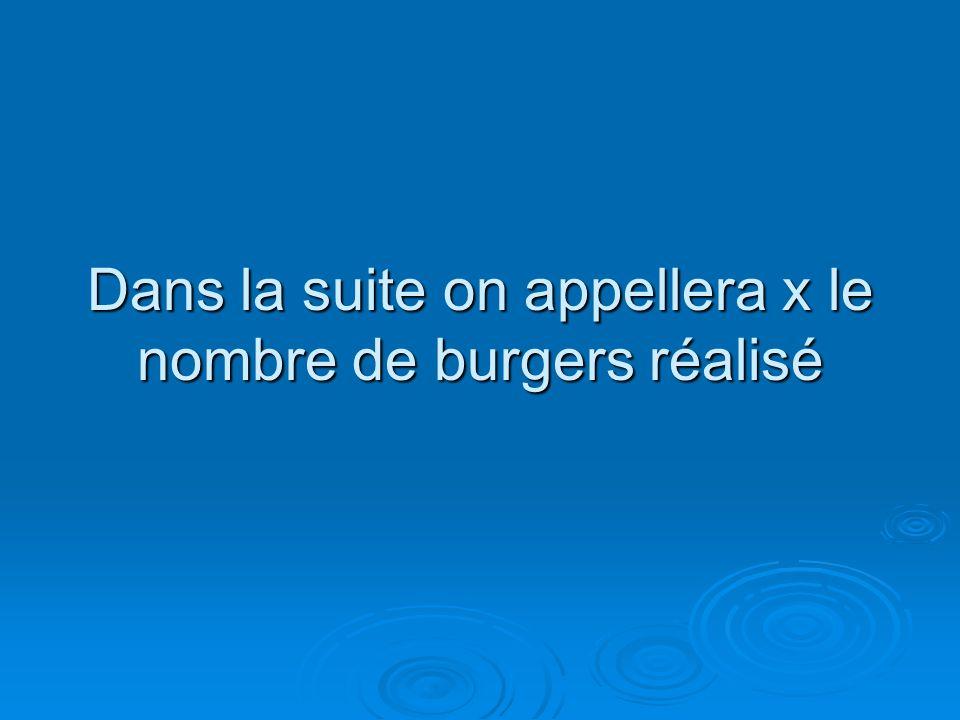 Dans la suite on appellera x le nombre de burgers réalisé
