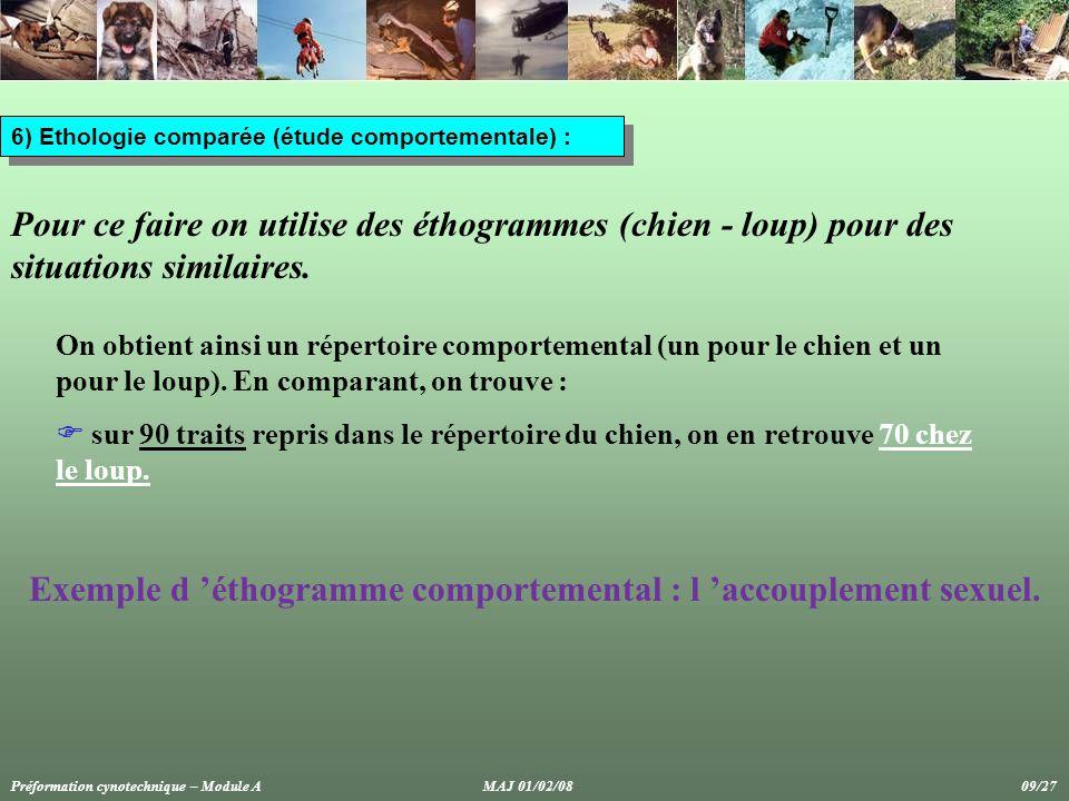 6) Ethologie comparée (étude comportementale) : Pour ce faire on utilise des éthogrammes (chien - loup) pour des situations similaires.