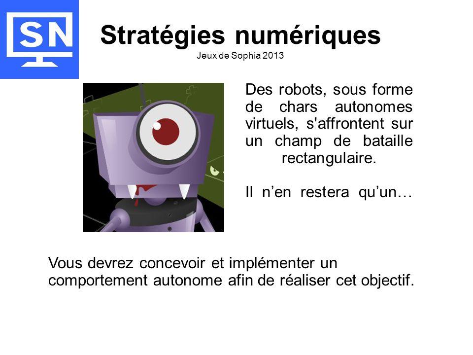 •L'action se déroule sur la plateforme de jeu 'Robocode' Il faut quelques connaissance en langage Java, des bases en géométrie, du temps et de la réflexion.