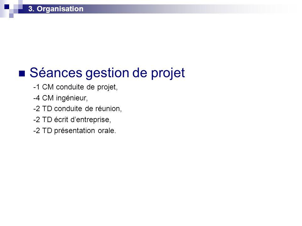 3. Organisation  Séances gestion de projet -1 CM conduite de projet, -4 CM ingénieur, -2 TD conduite de réunion, -2 TD écrit d'entreprise, -2 TD prés