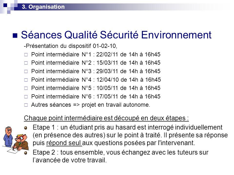 3. Organisation  Séances Qualité Sécurité Environnement -Présentation du dispositif 01-02-10,  Point intermédiaire N°1 : 22/02/11 de 14h à 16h45  P