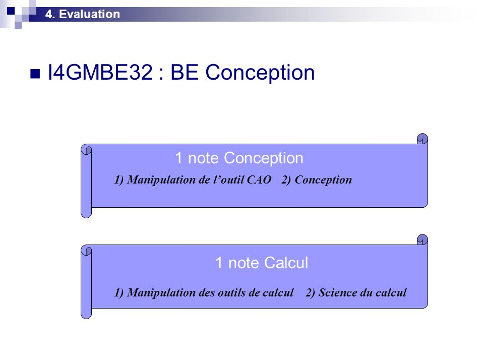  I4GMBE32 : BE Conception 4. Evaluation 1) Manipulation de l'outil CAO2) Conception 1) Manipulation des outils de calcul2) Science du calcul 1 note C