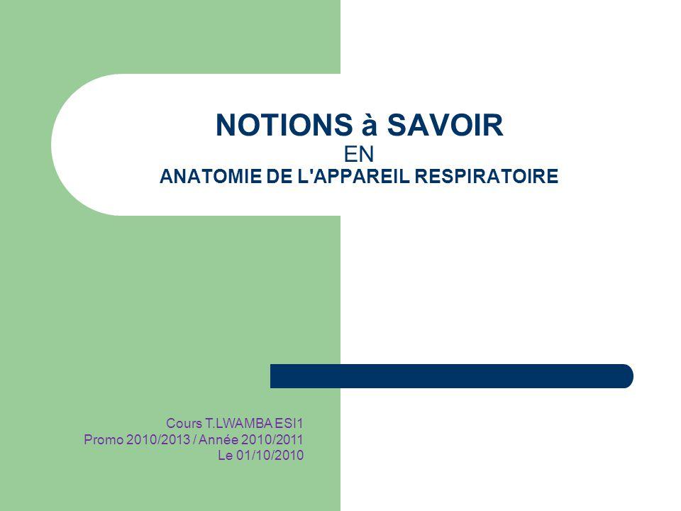 NOTIONS à SAVOIR EN ANATOMIE DE L'APPAREIL RESPIRATOIRE Cours T.LWAMBA ESI1 Promo 2010/2013 / Année 2010/2011 Le 01/10/2010