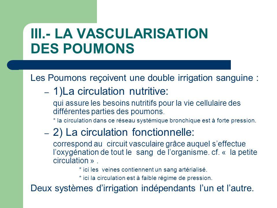 III.- LA VASCULARISATION DES POUMONS Les Poumons reçoivent une double irrigation sanguine : – 1)La circulation nutritive: qui assure les besoins nutri
