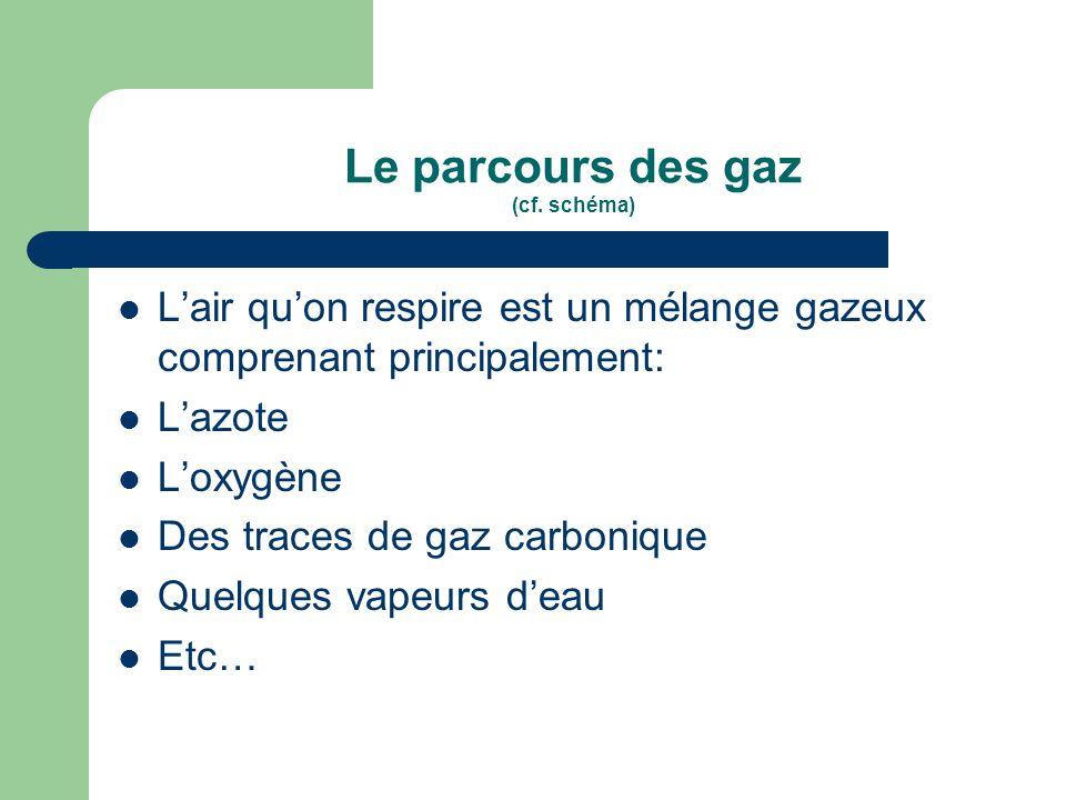 Le parcours des gaz (cf. schéma)  L'air qu'on respire est un mélange gazeux comprenant principalement:  L'azote  L'oxygène  Des traces de gaz carb