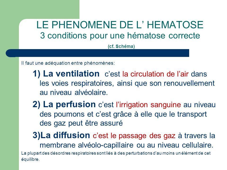 LE PHENOMENE DE L' HEMATOSE 3 conditions pour une hématose correcte (cf. Schéma) Il faut une adéquation entre phénomènes: 1) La ventilation c'est la c