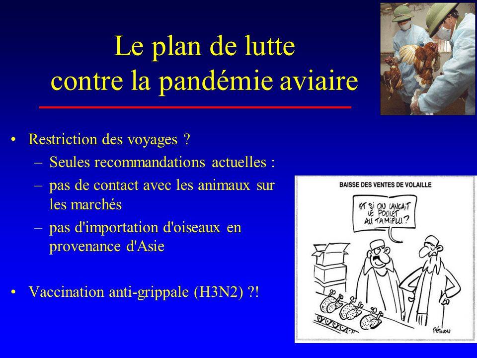 Le plan de lutte contre la pandémie aviaire •Restriction des voyages .