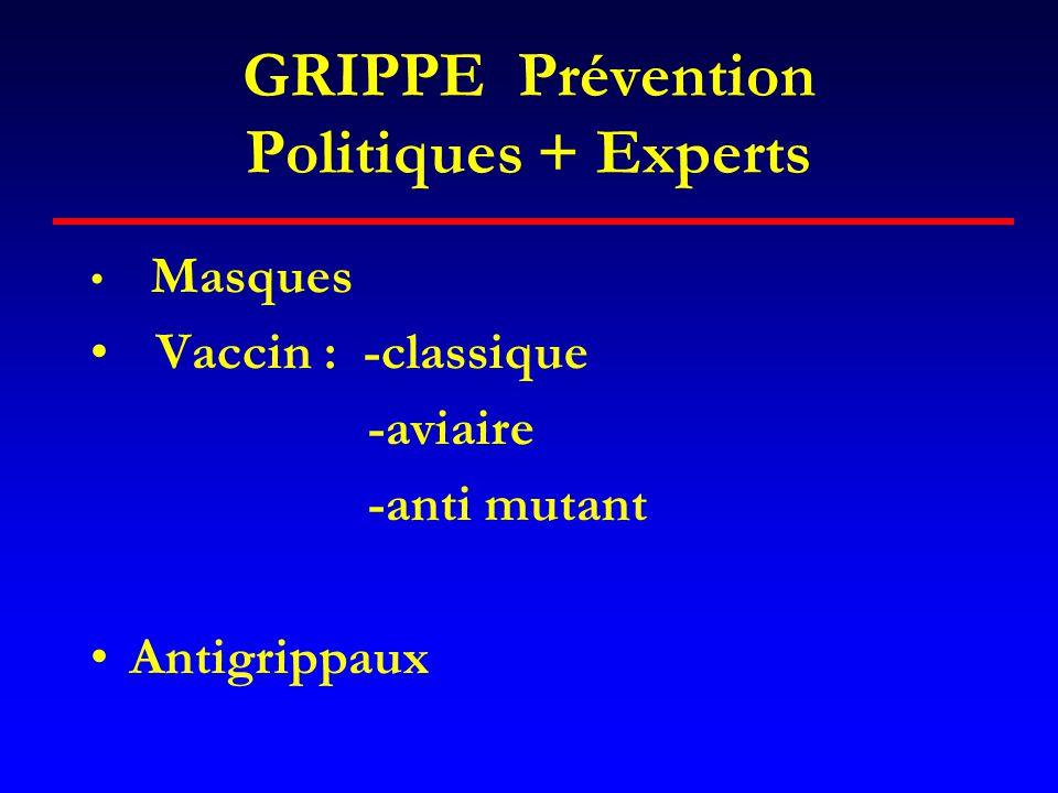 GRIPPE Prévention Politiques + Experts • Masques • Vaccin : -classique -aviaire -anti mutant •Antigrippaux