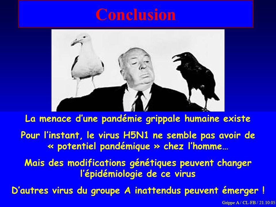 Conclusion La menace d'une pandémie grippale humaine existe Pour l'instant, le virus H5N1 ne semble pas avoir de « potentiel pandémique » chez l'homme… Mais des modifications génétiques peuvent changer l'épidémiologie de ce virus D'autres virus du groupe A inattendus peuvent émerger .