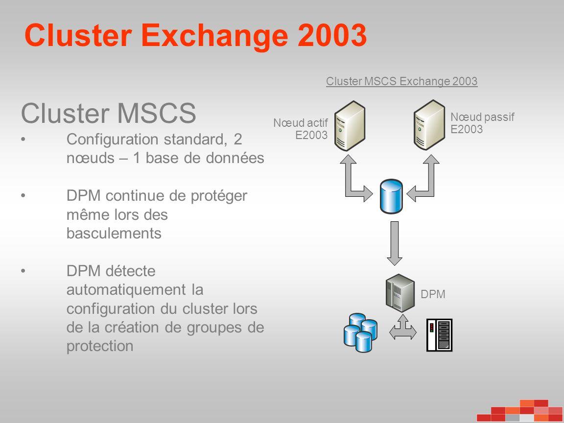 Cluster Exchange 2003 DPM Cluster MSCS Exchange 2003 Nœud passif E2003 Nœud actif E2003 Cluster MSCS •Configuration standard, 2 nœuds – 1 base de donn