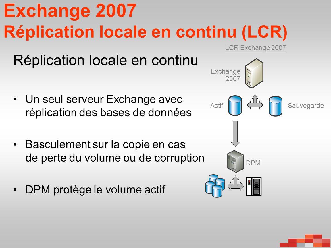 Exchange 2007 Réplication locale en continu (LCR) Réplication locale en continu •Un seul serveur Exchange avec réplication des bases de données •Bascu