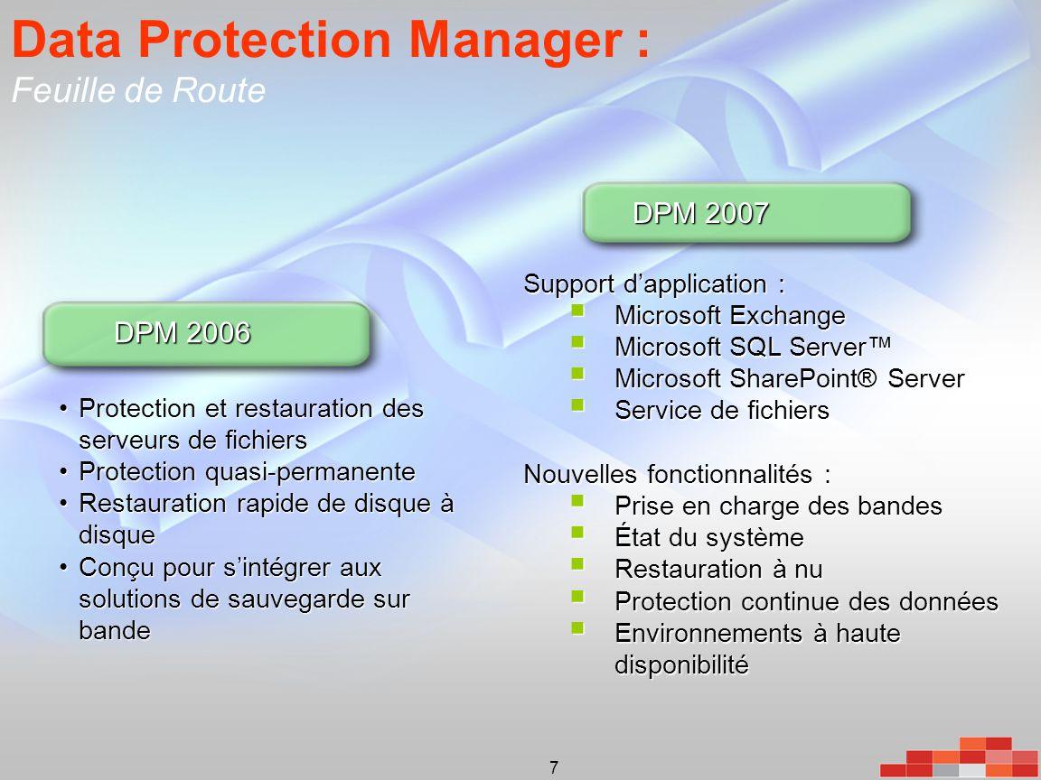 7 Data Protection Manager : Feuille de Route •Protection et restauration des serveurs de fichiers •Protection quasi-permanente •Restauration rapide de