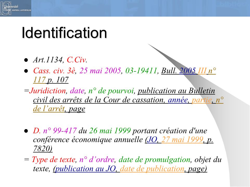 Identification  Art.1134, C.Civ.  Cass. civ. 3è, 25 mai 2005, 03-19411, Bull. 2005 III n° 117 p. 107 =Juridiction, date, n° de pourvoi, publication