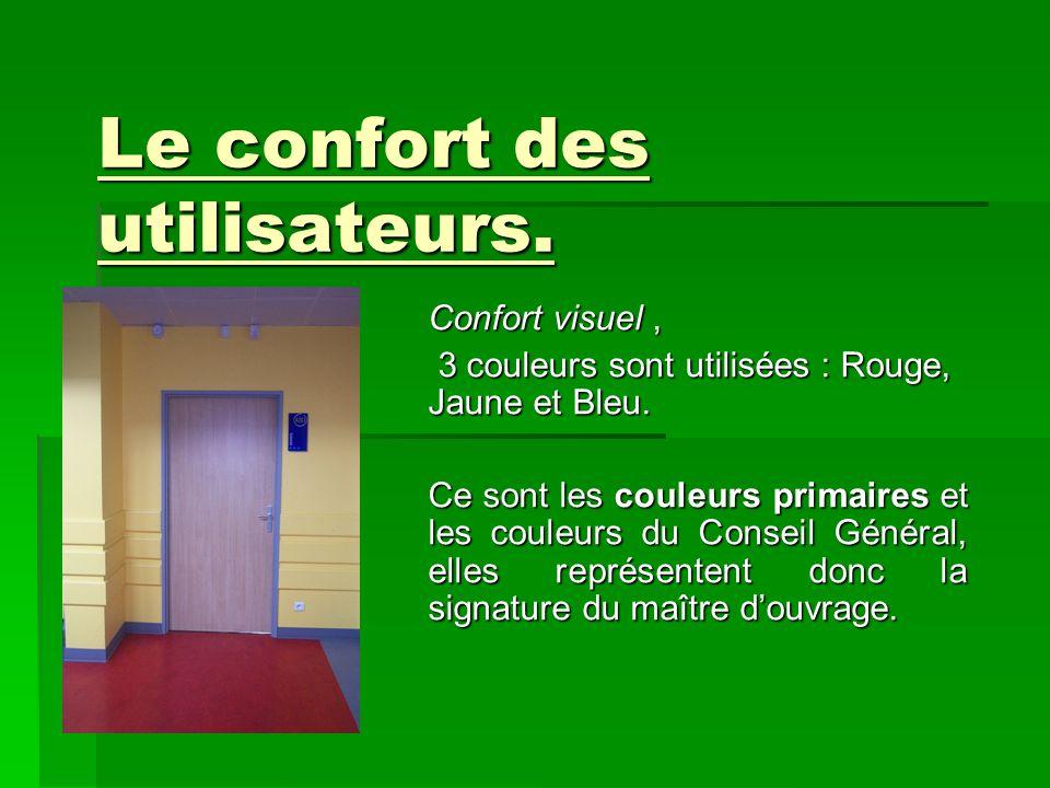 Le confort des utilisateurs. Confort visuel, 3 couleurs sont utilisées : Rouge, Jaune et Bleu. Ce sont les couleurs primaires et les couleurs du Conse