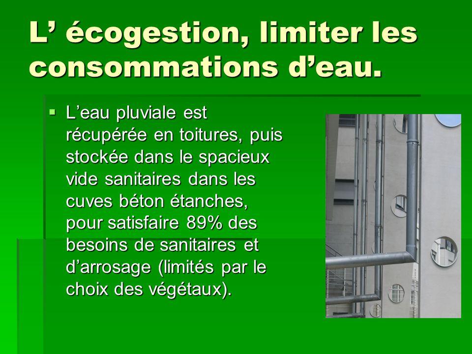 L' écogestion, limiter les consommations d'eau.  L'eau pluviale est récupérée en toitures, puis stockée dans le spacieux vide sanitaires dans les cuv