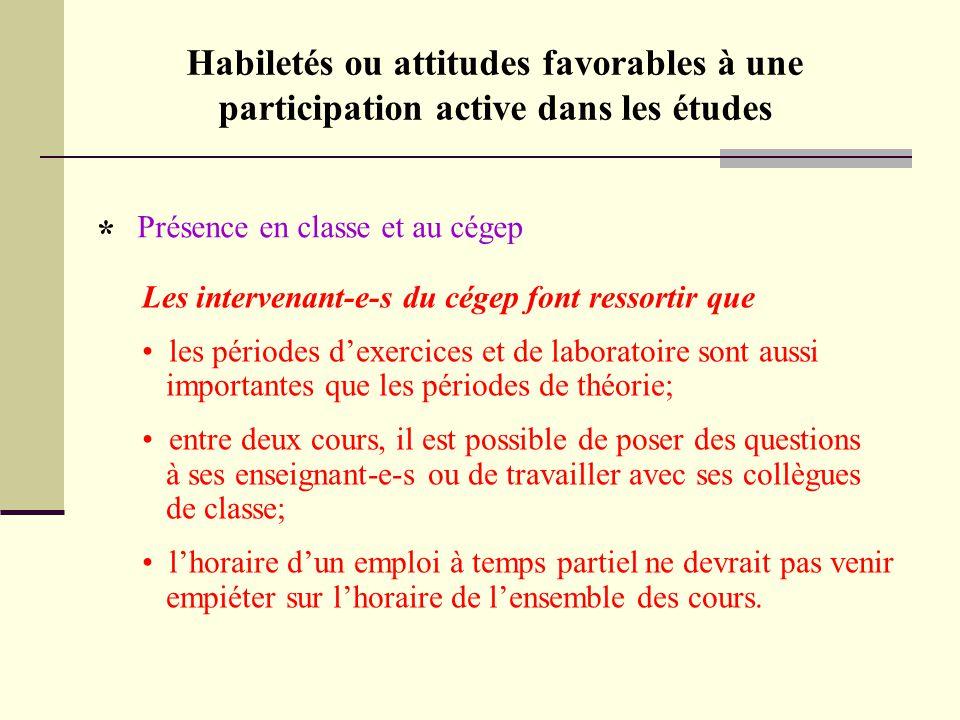 Habiletés ou attitudes favorables à une participation active dans les études Présence en classe et au cégep * Les intervenant-e-s du cégep font ressor