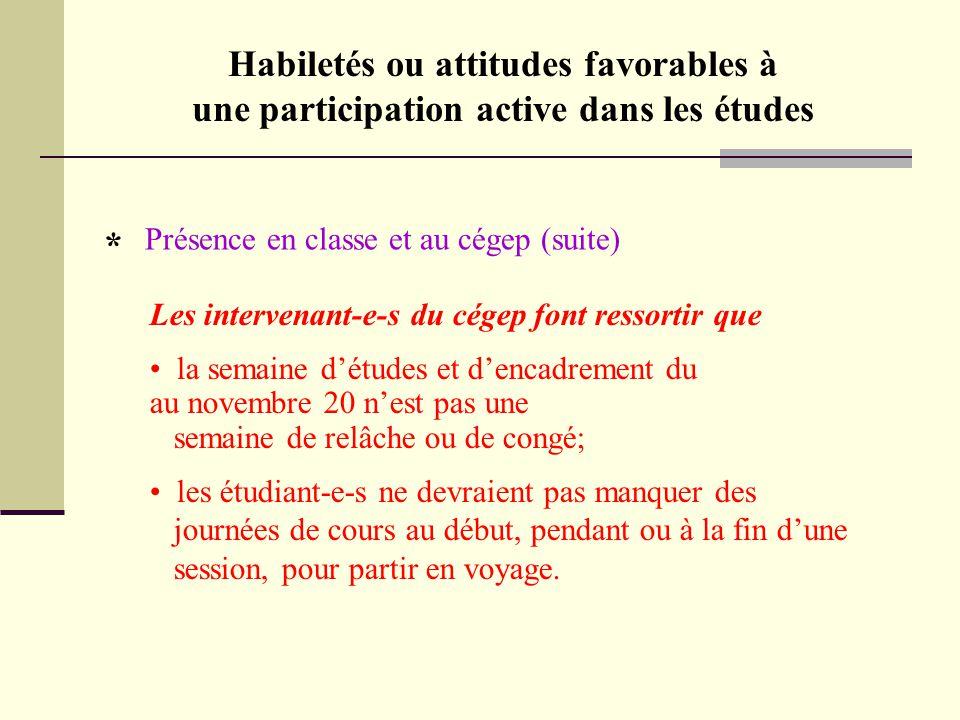 Habiletés ou attitudes favorables à une participation active dans les études Présence en classe et au cégep (suite) * Les intervenant-e-s du cégep fon