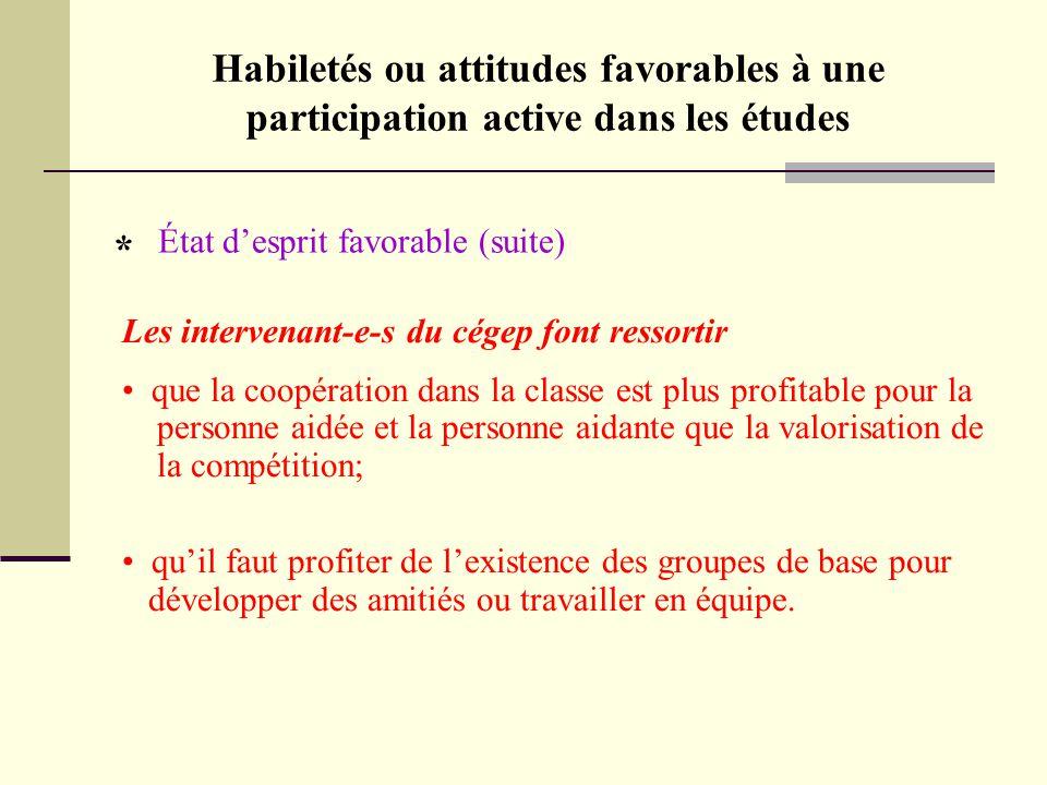 Habiletés ou attitudes favorables à une participation active dans les études État d'esprit favorable (suite) * Les intervenant-e-s du cégep font resso