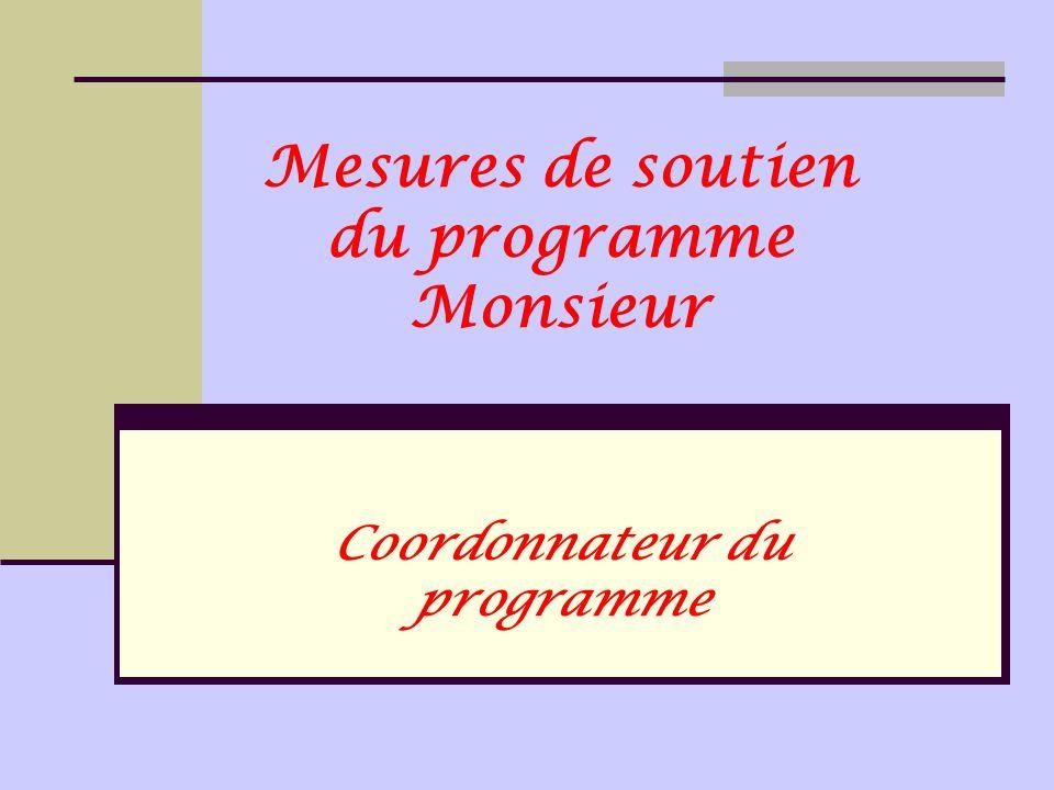 Mesures de soutien du programme Monsieur Coordonnateur du programme