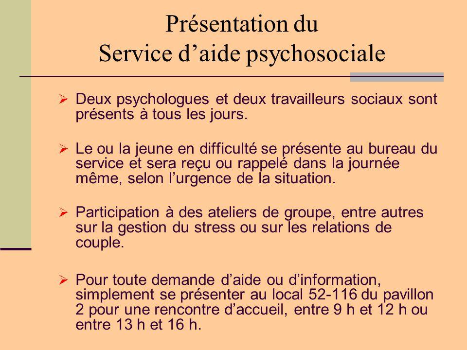 Présentation du Service d'aide psychosociale  Deux psychologues et deux travailleurs sociaux sont présents à tous les jours.  Le ou la jeune en diff