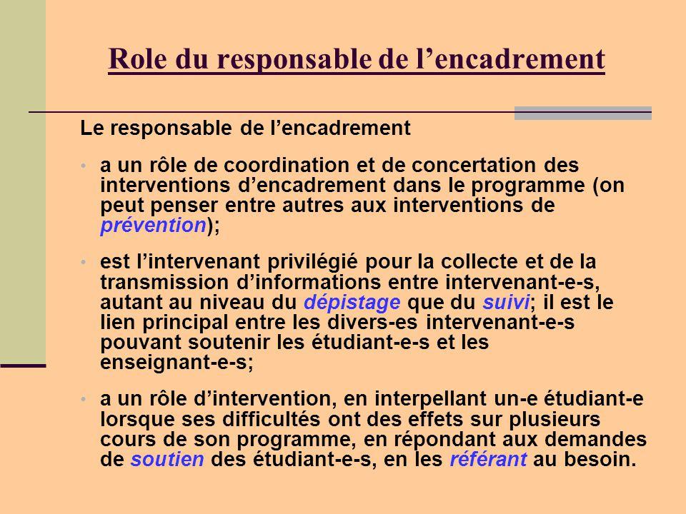 Role du responsable de l'encadrement Le responsable de l'encadrement • a un rôle de coordination et de concertation des interventions d'encadrement dans le programme (on peut penser entre autres aux interventions de prévention); • est l'intervenant privilégié pour la collecte et de la transmission d'informations entre intervenant-e-s, autant au niveau du dépistage que du suivi; il est le lien principal entre les divers-es intervenant-e-s pouvant soutenir les étudiant-e-s et les enseignant-e-s; • a un rôle d'intervention, en interpellant un-e étudiant-e lorsque ses difficultés ont des effets sur plusieurs cours de son programme, en répondant aux demandes de soutien des étudiant-e-s, en les référant au besoin.