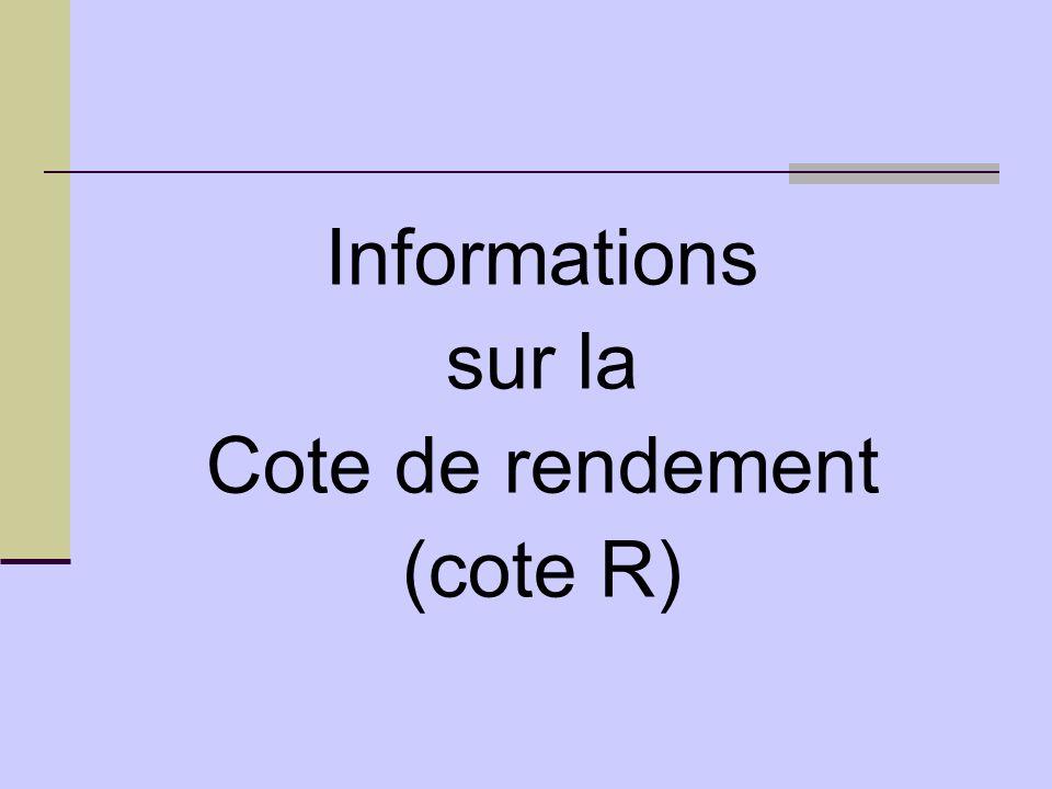 Informations sur la Cote de rendement (cote R)