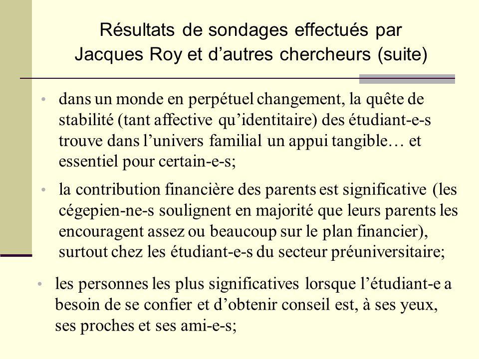 • la contribution financière des parents est significative (les cégepien-ne-s soulignent en majorité que leurs parents les encouragent assez ou beauco