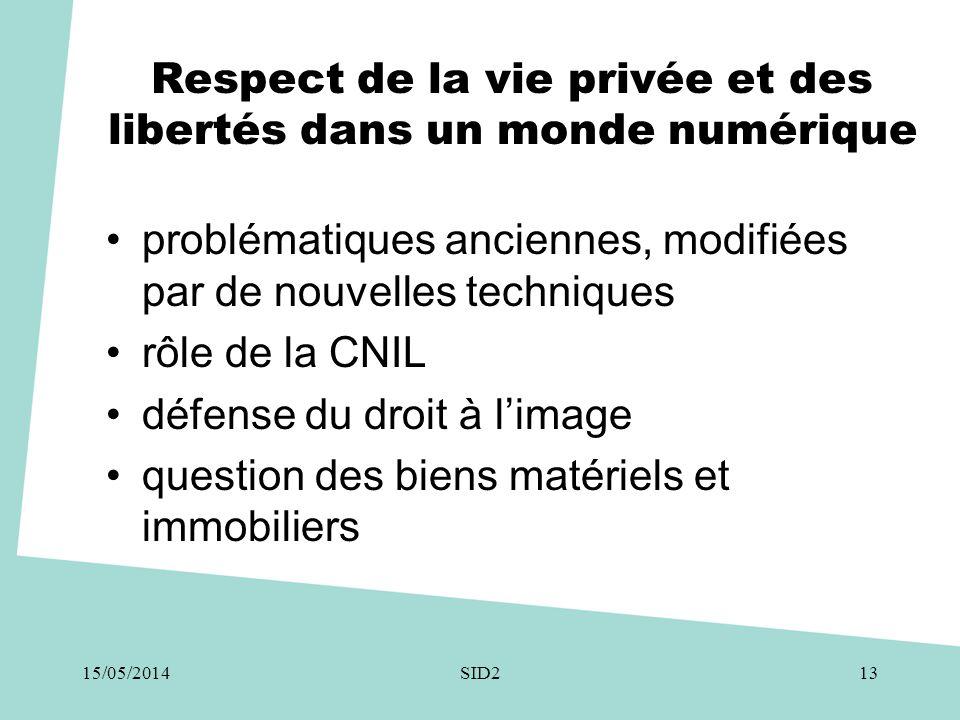 Respect de la vie privée et des libertés dans un monde numérique •problématiques anciennes, modifiées par de nouvelles techniques •rôle de la CNIL •dé