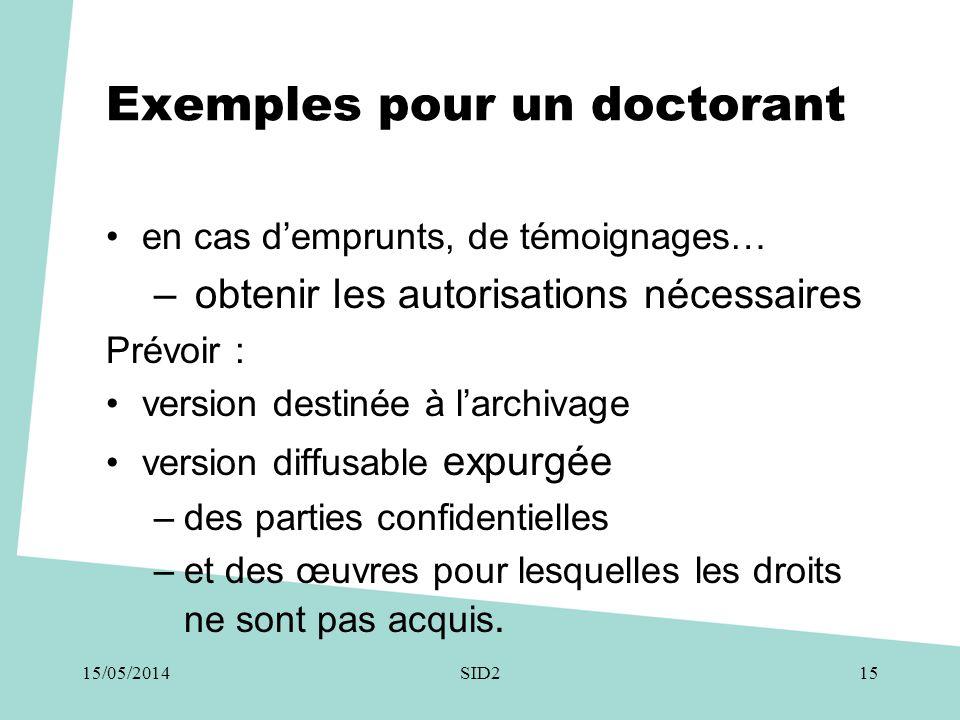 Exemples pour un doctorant •en cas d'emprunts, de témoignages… – obtenir les autorisations nécessaires Prévoir : •version destinée à l'archivage •vers