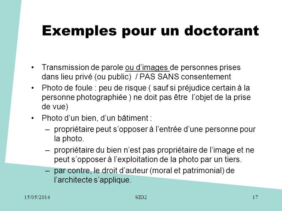 Exemples pour un doctorant •Transmission de parole ou d'images de personnes prises dans lieu privé (ou public) / PAS SANS consentement •Photo de foule