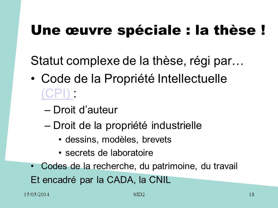 Une œuvre spéciale : la thèse ! Statut complexe de la thèse, régi par… •Code de la Propriété Intellectuelle (CPI) : (CPI) –Droit d'auteur –Droit de la