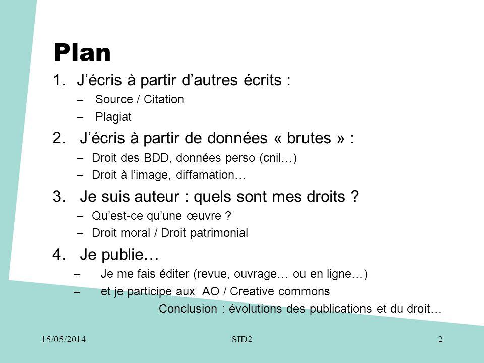 Plan 1.J'écris à partir d'autres écrits : – Source / Citation – Plagiat 2.J'écris à partir de données « brutes » : –Droit des BDD, données perso (cnil