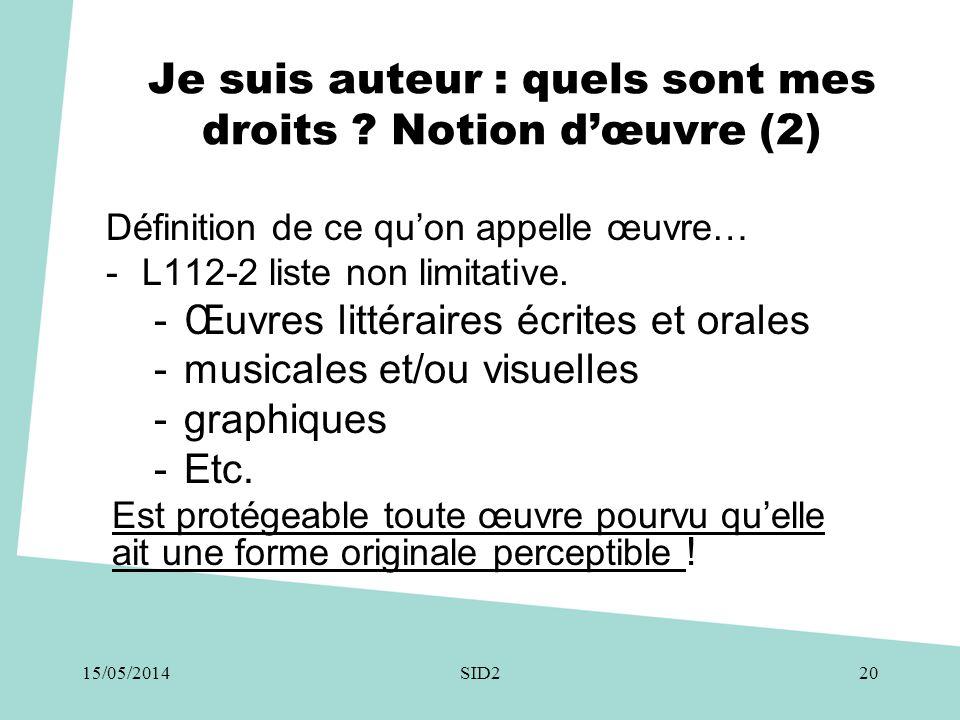 Je suis auteur : quels sont mes droits ? Notion d'œuvre (2) Définition de ce qu'on appelle œuvre… -L112-2 liste non limitative. -Œuvres littéraires éc