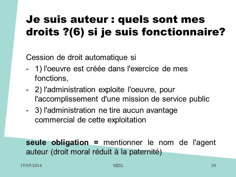Je suis auteur : quels sont mes droits ?(6) si je suis fonctionnaire? Cession de droit automatique si -1) l'oeuvre est créée dans l'exercice de mes fo