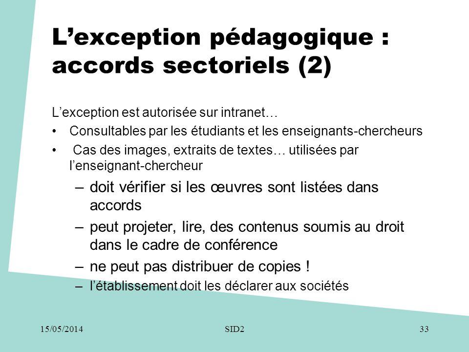 L'exception pédagogique : accords sectoriels (2) L'exception est autorisée sur intranet… •Consultables par les étudiants et les enseignants-chercheurs