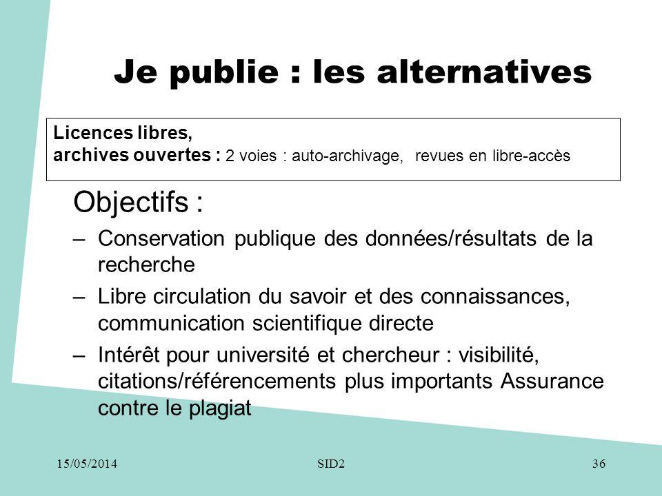 Je publie : les alternatives Objectifs : –Conservation publique des données/résultats de la recherche –Libre circulation du savoir et des connaissance