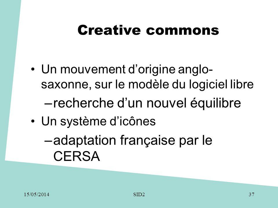 Creative commons •Un mouvement d'origine anglo- saxonne, sur le modèle du logiciel libre –recherche d'un nouvel équilibre •Un système d'icônes –adapta